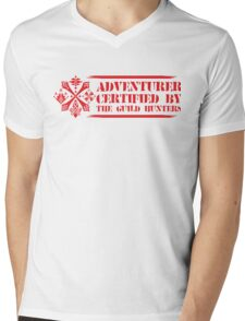 Certified By The Guild of Hunters HORIZONTAL RED Mens V-Neck T-Shirt