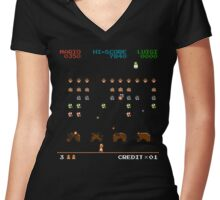 Mario Invaders Women's Fitted V-Neck T-Shirt