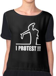 Cool Funny Cartoon I Protest Chiffon Top