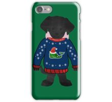 Black Lab Puppy Preppy Whale Christmas Sweater iPhone Case/Skin