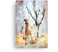 Christmas decoration with fairy white deer Canvas Print