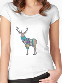 Deer in knitted sweater Women's Fitted Scoop T-Shirt
