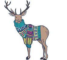 Deer in knitted sweater by Julia Hromova