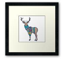 Deer in knitted sweater Framed Print