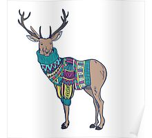 Deer in knitted sweater Poster