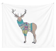 Deer in knitted sweater Wall Tapestry