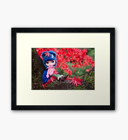 Kate goes tree climbing (landscape version) Framed Print
