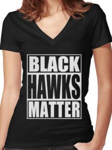Black Hawks Matter Women's Fitted V-Neck T-Shirt