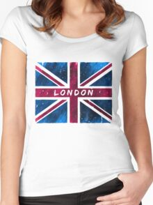 London British Union Jack Flag Women's Fitted Scoop T-Shirt