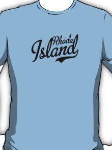 Rhode Island Script Black T-Shirt
