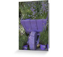 wheelbarrow with lavender Greeting Card