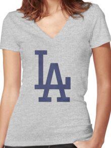 °BASEBALL° L.A. Dodgers Denim Women's Fitted V-Neck T-Shirt