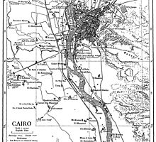 Vintage Map of Cairo Egypt (1911) by BravuraMedia