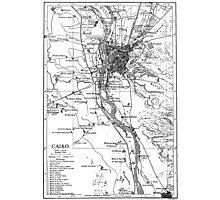 Vintage Map of Cairo Egypt (1911) Photographic Print