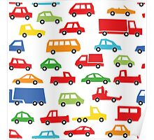 toy car pattern - automobile illustration Poster
