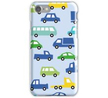 blue toy car pattern - automobile illustration iPhone Case/Skin