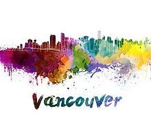 Vancouver skyline in watercolor by paulrommer