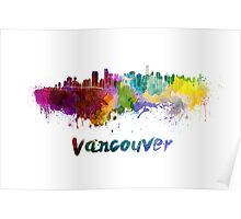 Vancouver skyline in watercolor Poster