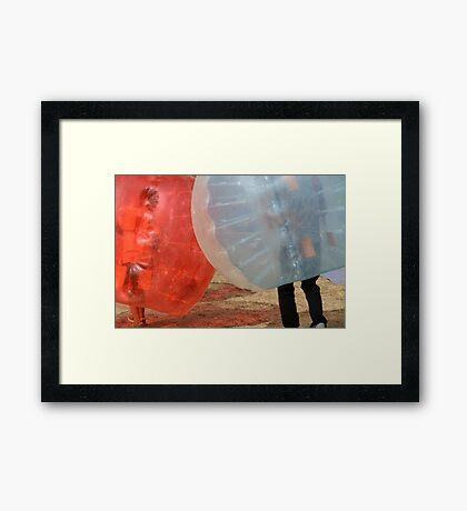 Bumper bubble battle Framed Print