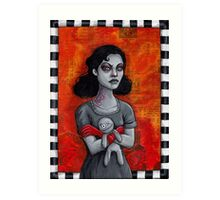 Angry Goth Girl with Voodoo Doll Art Print