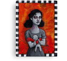 Angry Goth Girl with Voodoo Doll Canvas Print