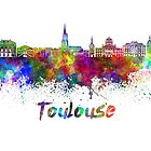 Toulouse skyline in watercolor by paulrommer