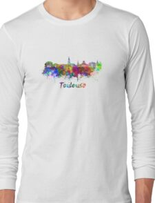 Toulouse skyline in watercolor Long Sleeve T-Shirt