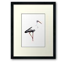 Stork Bird Watercolor Poster Painting Animal Drawing illustration Framed Print
