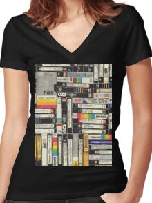 80´S VHS TAPES Women's Fitted V-Neck T-Shirt