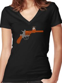 Duck Hunt gun Women's Fitted V-Neck T-Shirt