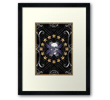 Black triangles abstract tribal pattern with a skull Framed Print