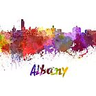 Albany skyline in watercolor by paulrommer