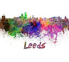 Leeds skyline in watercolor by paulrommer