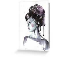 Portrait and satin flower Greeting Card