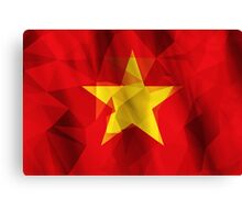 Yellow star with red background low poly triangle flag Canvas Print