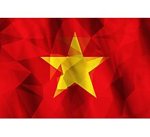 Yellow star with red background low poly triangle flag Photographic Print