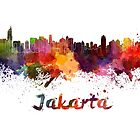 Jakarta skyline in watercolor by paulrommer