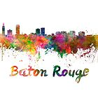 Baton Rouge skyline in watercolor by paulrommer