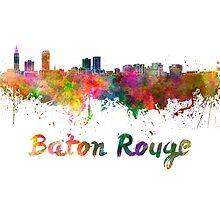 Baton Rouge skyline in watercolor by paulrommer