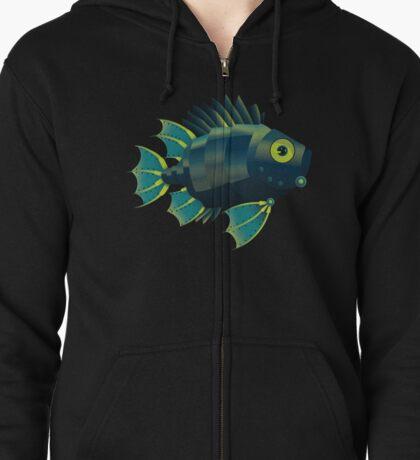 Mechanical Fish Patttern Zipped Hoodie