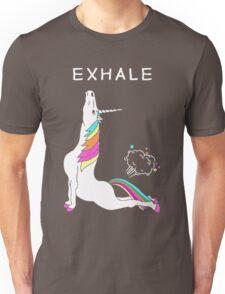 Exhale Yoga T-shirt Unicorn With Rainbow Unisex T-Shirt