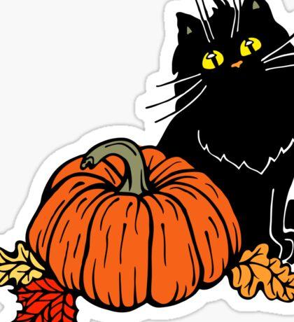 Black cat and Halloween pumpkin  Sticker