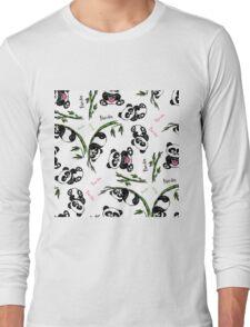 pattern with cute panda.  Long Sleeve T-Shirt
