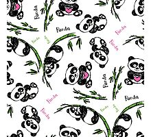 pattern with cute panda.  Photographic Print