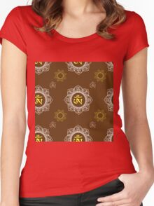 pattern with Om ornament Women's Fitted Scoop T-Shirt
