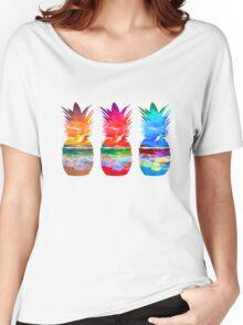 Three Sunset Pineapples Women's Relaxed Fit T-Shirt
