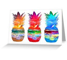 Three Sunset Pineapples Greeting Card