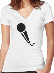 Microphone Women's Fitted V-Neck T-Shirt