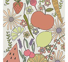 fruits vegetables and flower power Photographic Print