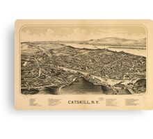 Vintage Pictorial Map of Catskill New York (1889)  Canvas Print